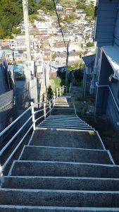 これから下る青山の階段